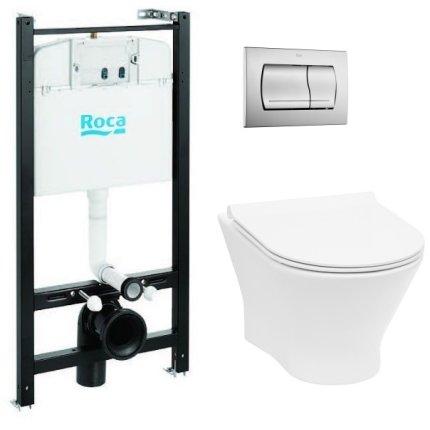 Set vas wc suspendat Roca Nexo Rimless cu capac Slim inchidere lenta, rezervor cu cadru si clapeta crom lucios