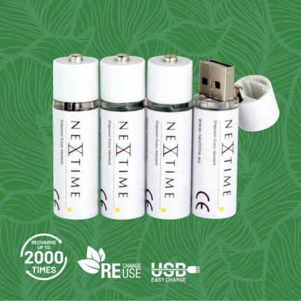 Set 2 acumulatori Li-Ion tip AA NeXtime USB, alb