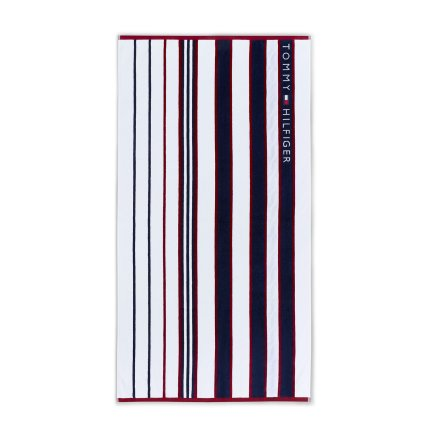 Prosop de plaja Tommy Hilfiger Red and Blue Striped 100x180cm, Albastru Navy