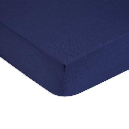 Cearceaf de pat cu elastic Tommy Hilfiger Unis Percale, Albastru Navy