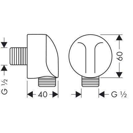 Accesoriu Hansgrohe FixFit E cu supapa de retinere pentru furtun dus, crom