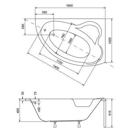 Cada asimetrica Besco Ada 160 x 100 cm, varianta dreapta