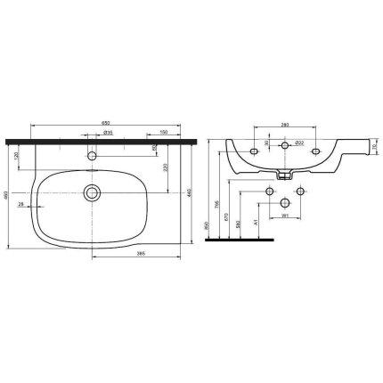Lavoar asimetric Kolo Style 65x46cm, dreapta