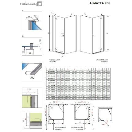 Cabina de dus dreptunghiulara asimetrica Radaway Almatea KDJ 120x90cm usa dreapta