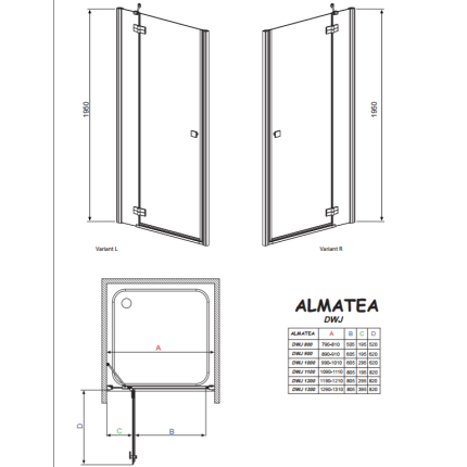 Usa de nisa batanta Radaway Almatea DWJ 120x195cm deschidere stanga