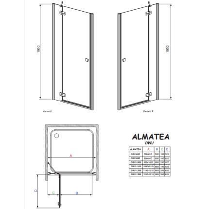 Usa de nisa batanta Radaway Almatea DWJ 90x195cm deschidere stanga