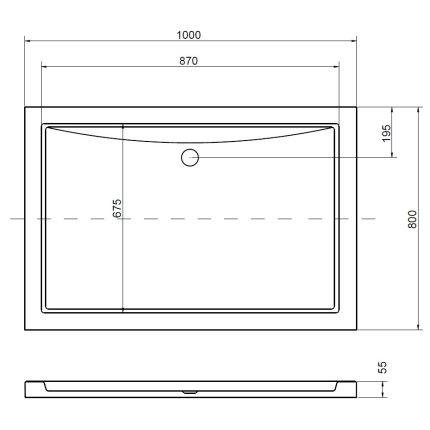 Cadita de dus dreptunghiulara Besco Alpina Slim 100x80 cm