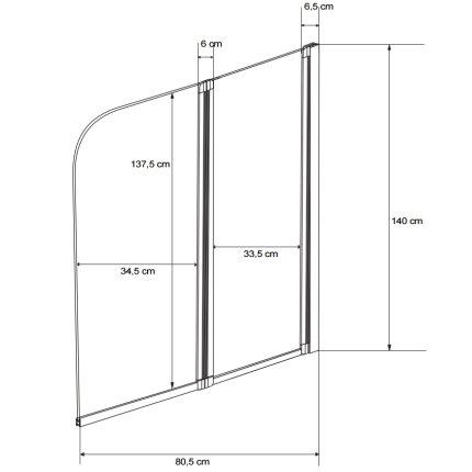 Paravan cada Besco Ambition 2, doua elemente mobile, 80,5 x 140 cm, sticla transparenta 5 mm, profil crom