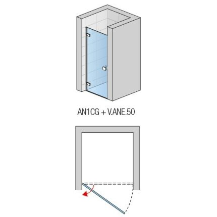 Usa de dus pivotanta Sanswiss Annea 80cm stanga, sticla securizata transparenta 6mm, profil slefuit lucios