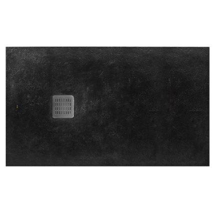 Cadita de dus Roca Terran 140x80cm, Superslim Stonex, negru