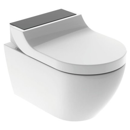Capac WC Geberit AquaClean Tuma Comfort cu inchidere lenta, functie bideu electric, ornament sticla neagra