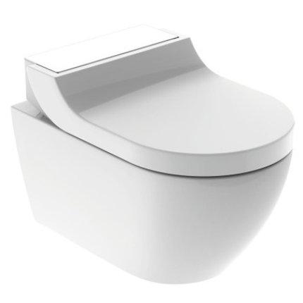 Set vas WC suspendat Geberit AquaClean Tuma Comfort, capac inchidere lenta, functie bideu electric, ornament sticla alba