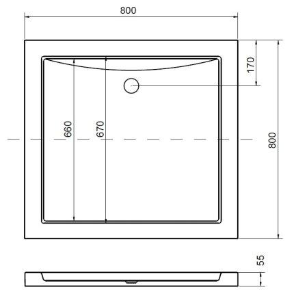 Cadita de dus patrata Besco Aquarius Slim 80x80 cm