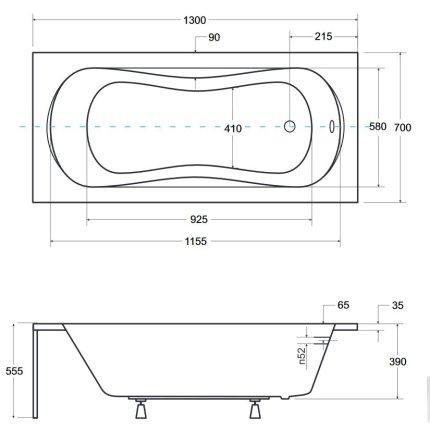 Cada baie rectangulara Besco Aria 130x70cm, acril