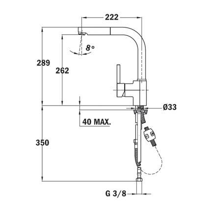Baterie bucatarie Teka ARK 938 Q, dus extractibil, granit Schwarzmetallic