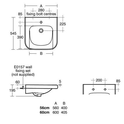 Lavoar pentru persoane cu dizabilitati Ideal Standard Contour 21 60x54,5cm fara orificiu pentru baterie