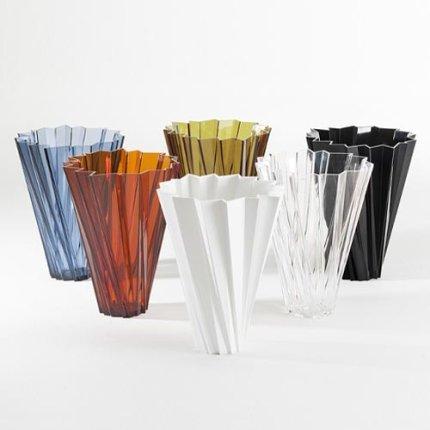 Vaza Kartell Shanghai design Mario Bellini, h44cm, chihlimbar transparent
