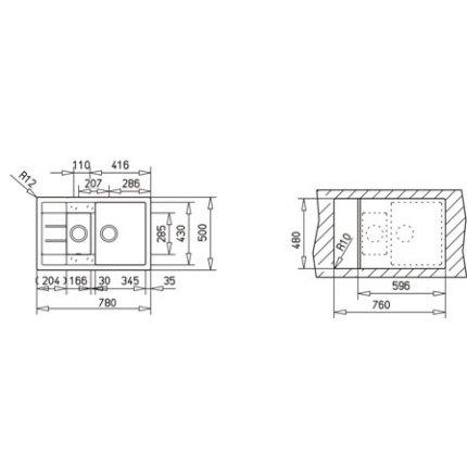 Set Teka Schwarzmetallic : Chiuveta Tegranit Astral 60B TG 1 1/2B 1D, 780x500mm + Baterie bucatarie SP 995 Granit