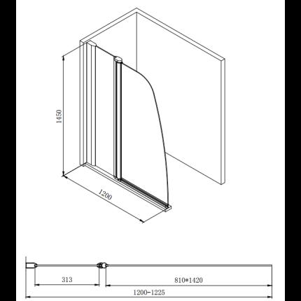 Paravan cada Besco Avis, un element fix + un element mobil, 120x140cm, sticla transparenta 6mm, profil crom