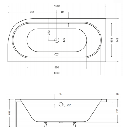Cada asimetrica Besco Avita 150x75cm, acril, orientare stanga