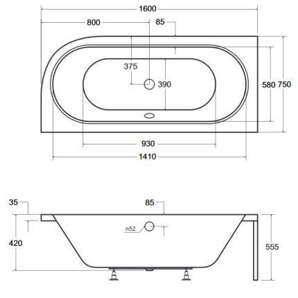 Cada asimetrica Besco Avita 160x75cm, acril, orientare stanga