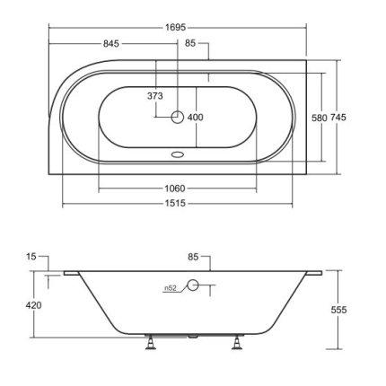 Cada baie asimetrica Besco Avita Slim 170x75cm, acril, incastrabila, orientare stanga