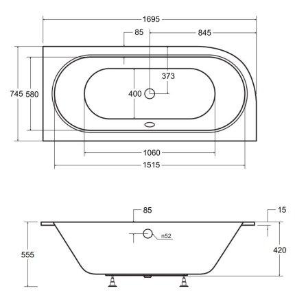 Cada baie asimetrica Besco Avita Slim 170x75cm, acril, incastrabila, orientare dreapta