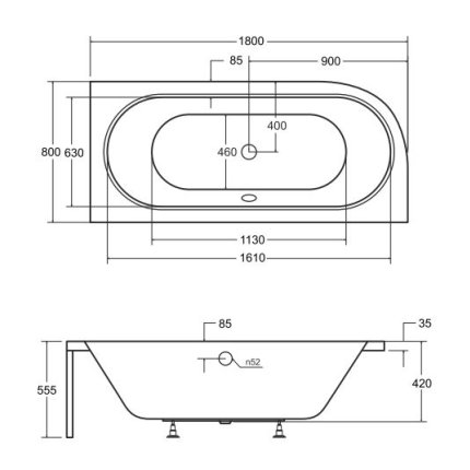 Cada baie asimetrica Besco Avita 180x80cm, acril, orientare dreapta