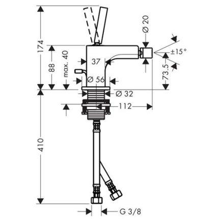 Baterie bideu monocomanda Hansgrohe Axor Citterio cu sistem pop-up