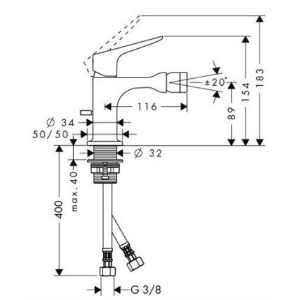 Baterie bideu monocomanda Hansgrohe Axor Citterio M cu sistem pop-up