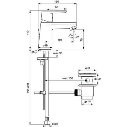 Baterie lavoar Ideal Standard Vito, ventil pop-up si debit redus de 5l/min