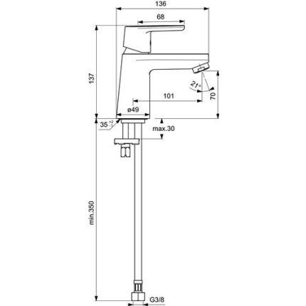 Baterie lavoar Ideal Standard Vito, fara ventil