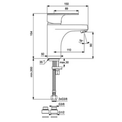 Baterie lavoar Vidima Posh, ventil pop-up