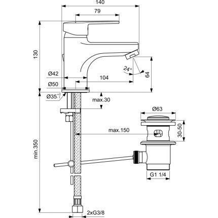 Baterie lavoar Ideal Standard Ideal Style cu ventil pop-up