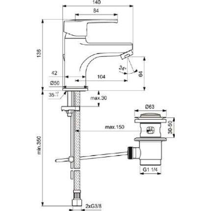 Baterie lavoar Ideal Standard IdealStream, ventil pop-up