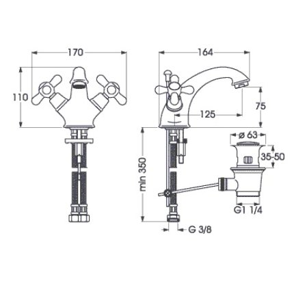 Baterie lavoar Vidima Retro dubla-comanda, ventil pop-up