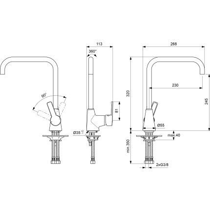 Baterie bucatarie Ideal Standard Idealstream cu pipa inalta