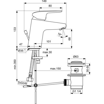 Baterie lavoar Ideal Standard Ceraflex, ventil pop-up