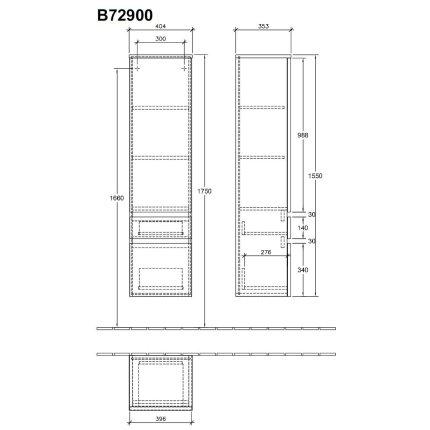 Dulap inalt suspendat Villeroy & Boch Legato 155x40x35cm, Elm Impresso