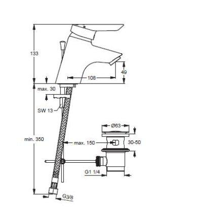 Baterie lavoar Ideal Standard Ceraplus, ventil pop-up