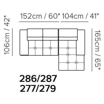 Canapea de colt Softaly by Natuzzi Adamo B878 orientare dreapta, tapiterie piele Denver grej 10BS