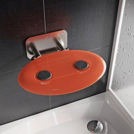 Scaun pliabil pentru dus Ravak Ovo P II Orange, max 150kg, portocaliu translucid