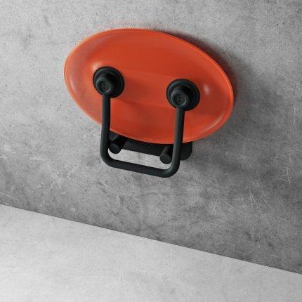 Scaun pliabil pentru dus Ravak Ovo P II Orange-Black, max 150kg, portocaliu translucid