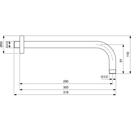 Brat de dus Ideal Standard Ideal Rain 30cm, gri magnetic