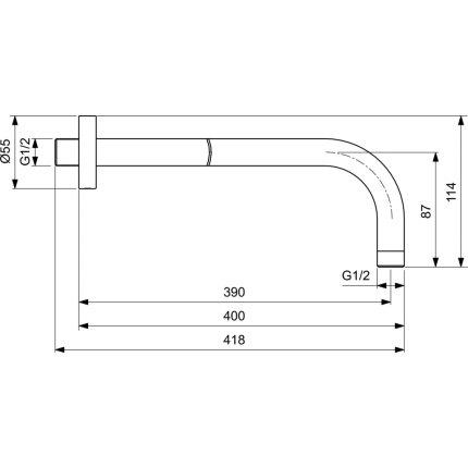 Brat de dus Ideal Standard Ideal Rain 40cm, gri magnetic