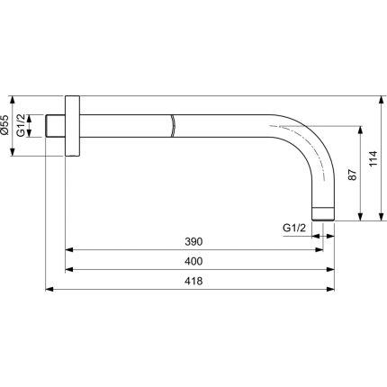 Brat de dus Ideal Standard IdealRain 40cm, negru mat