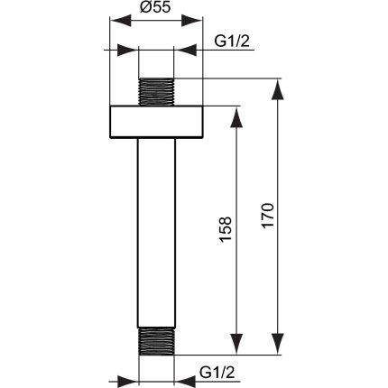 Brat de dus Ideal Standard Ideal Rain 15cm, cu montaj pe tavan, gri magnetic