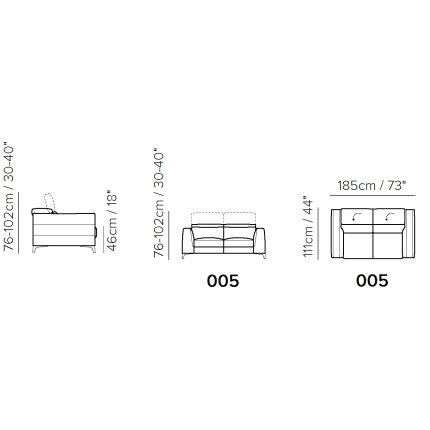 Canapea Softaly Orgoglio B979 cu 2 locuri, tetiere reglabile, 185cm, tapiterie Mattinata bej 02