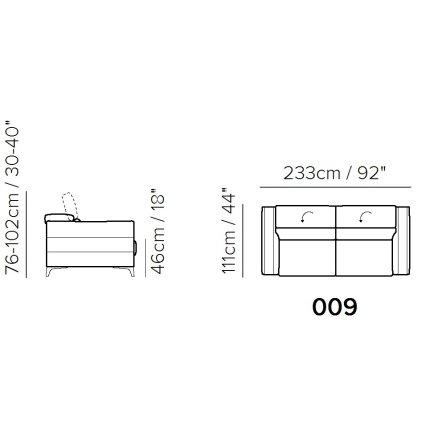 Canapea Softaly Orgoglio B979 cu 3 locuri, tetiere reglabile, 233cm, tapiterie Mattinata bej 02