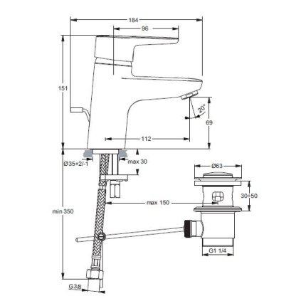 Baterie lavoar Ideal Standard Connect Blue, ventil pop-up